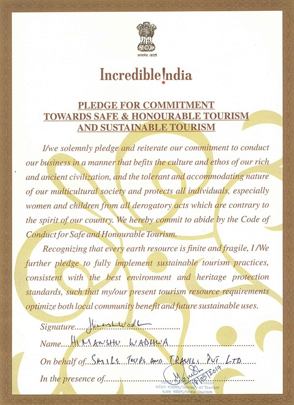 Incredible India Pledge for Commitment Certificate