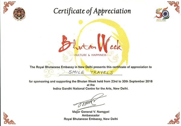 Bhutan Week 2018 Certificate of Appreciation