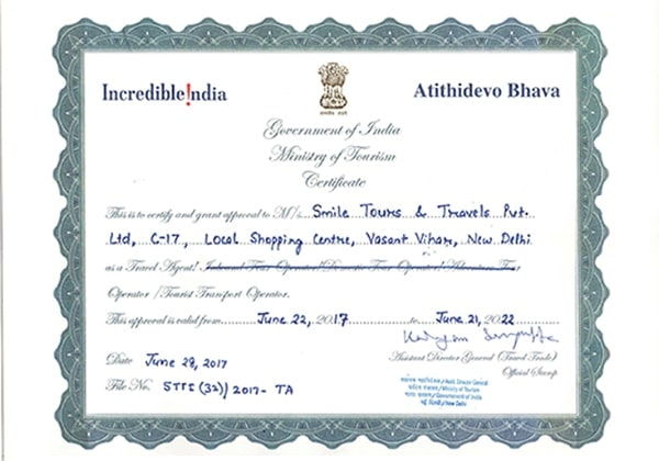 Government of India, Ministry of Tourism Certificate