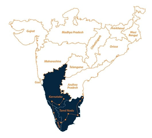 South India Travel Tour Map