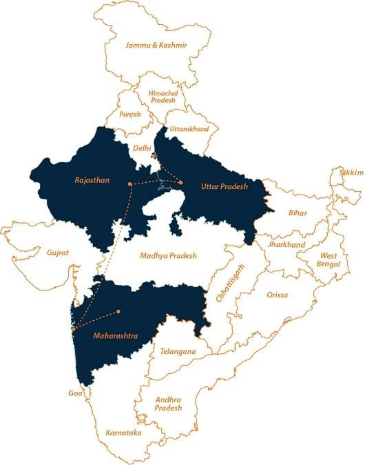 Delhi to Mumbai tour on map